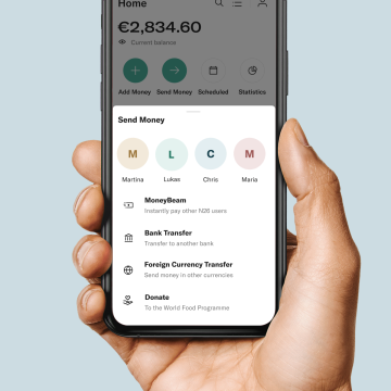"The ""Donate"" button in the N26 app."