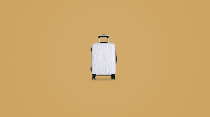 why study abroad image with a white suitcase and yellow background.