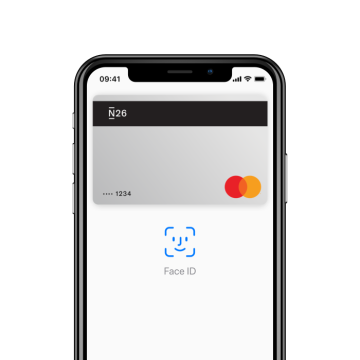 iPhone X with the Apple Pay screen open on it.