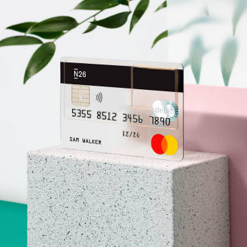 An N26 Standard card on top of a concrete block.
