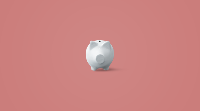 how to save money as a teenager image with a piggy bank and pink background.