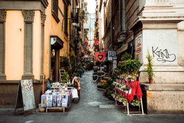 A typical street in Naples.