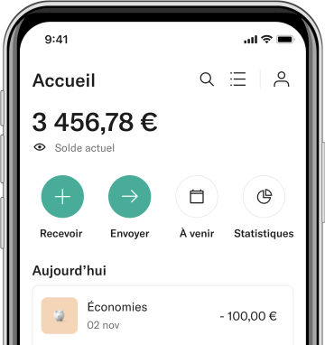 Application N26 sur smartphone.