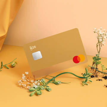 A Sand colored N26 You card against a beige backdrop.