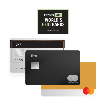 N26 Standard Bankkarte, YOU Account Karte, Premium Metal Karte mit Forbes Best Bank Logo.