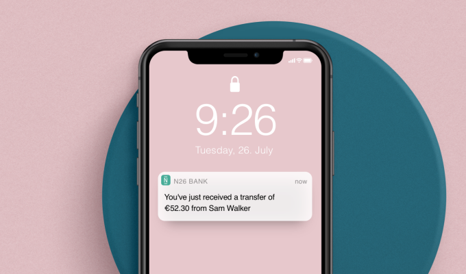 N26 notification from a SEPA Instant Incoming Transfer.