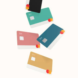5 different coloured N26 You debit cards.