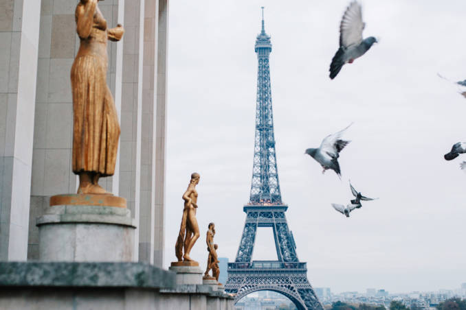 image showing pigeons flying near some bronze statues and with the eiffel tower in the background.
