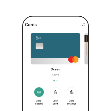 N26 virtual card shown on a phone.