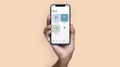 A hand holding up a an iPhone X with the N26 app open.