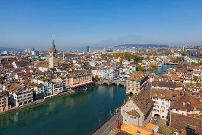 zurich city panorama with the river limmat.