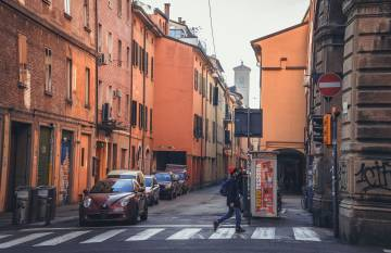A typical street in Bologna.