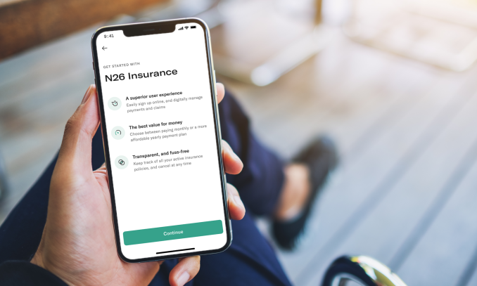 Phone with the N26 Insurance Feature open.