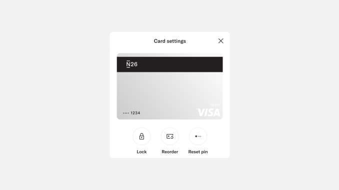 N26 app card settings menu.