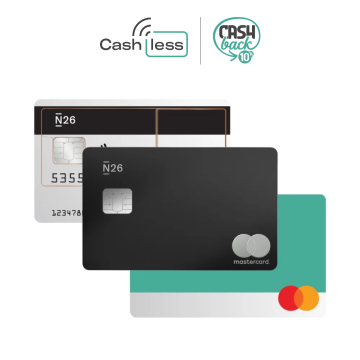 Transparent, Aqua and Metal N26 Mastercard with the N26 Cashless competition and government cashback logos.