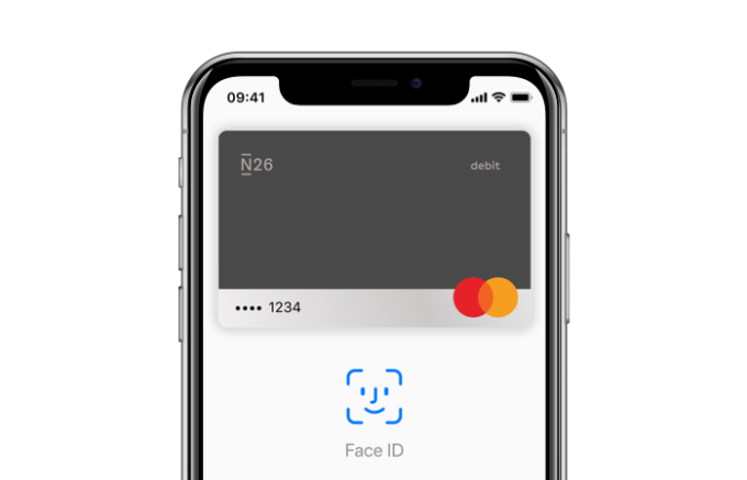 iPhone X con Apple Pay aperto su di esso.