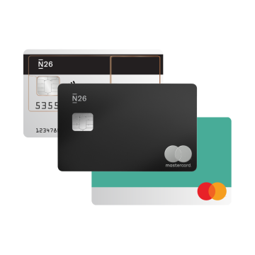 N26 transparent Mastercard, Charcoal black Metal Mastercard and teal Mastercard.