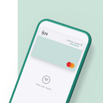 N26 banking app for freelancers showing a virtual mastercard on a light green background.