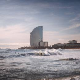 Surfer in Barcelona beach.