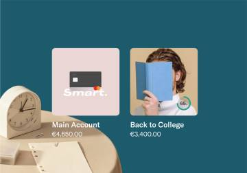 "image of two N26 subaccount showing the ""main account"" and ""Back to college"" spaces to budget money."