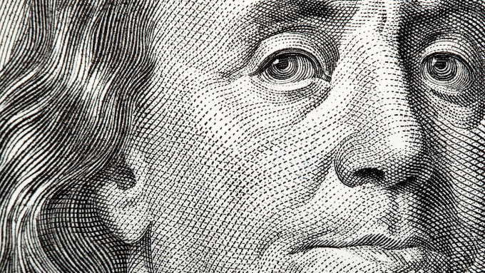 Closeup of a bank note.
