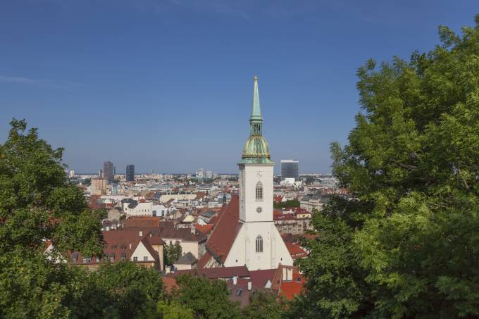City Skyline of Bratislava (Slovakia) with St. Martin's Cathedral.