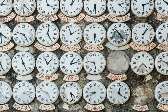 a collection of all clocks showing times in different cities of the world.