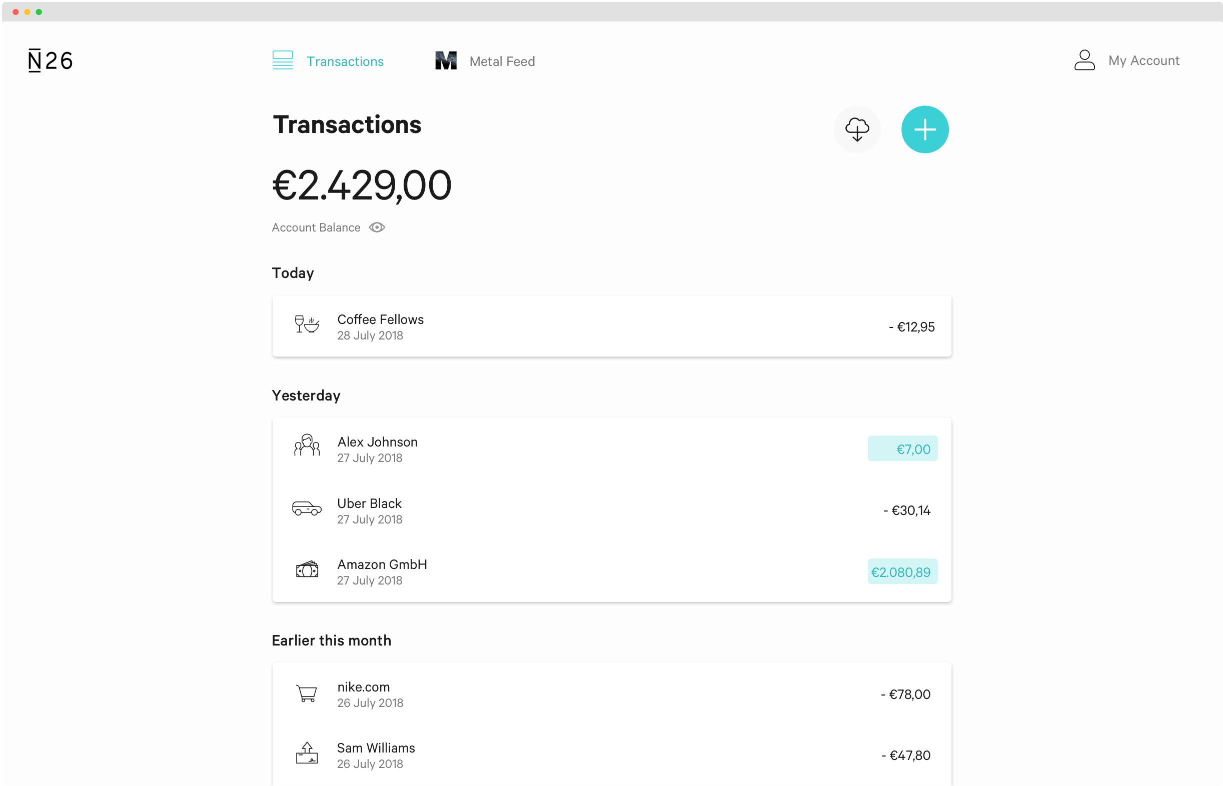 N26 Web App Light Theme