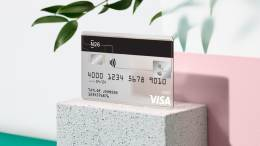 N26 Visa debit card against pink background with plants.