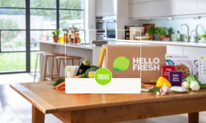 HelloFresh logo over subscription box.