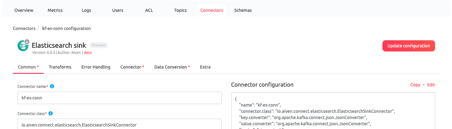 Kafka Connect Configuration in the Aiven Web Console
