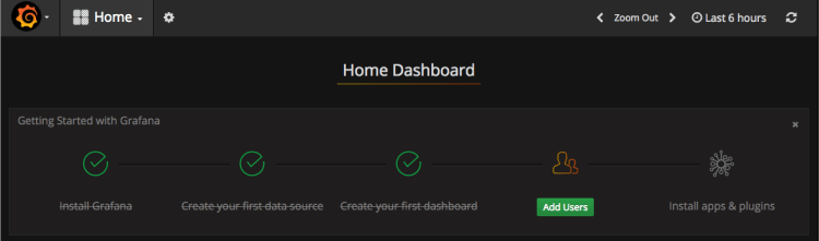 example of grafana home dashboard