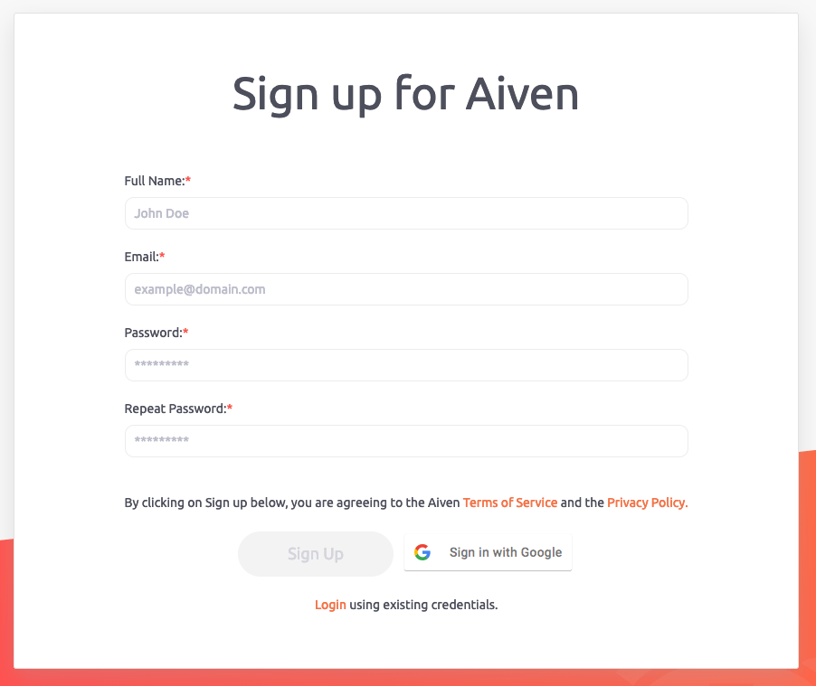 Signing up to Aiven with Google OAuth SSO