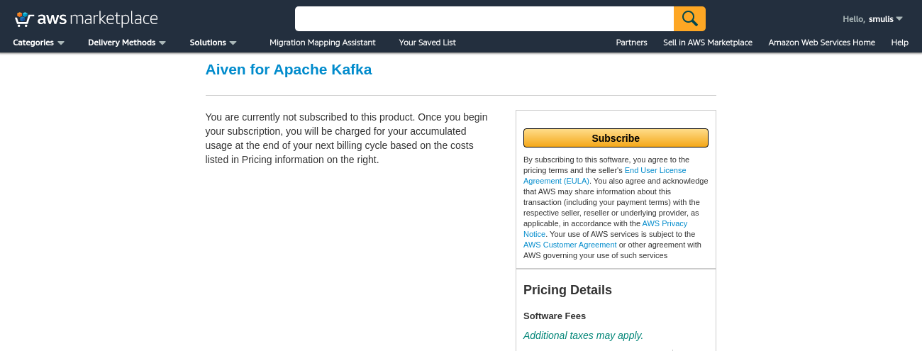 step 2 of subscribing for aiven for apache kafka on aws marketplace