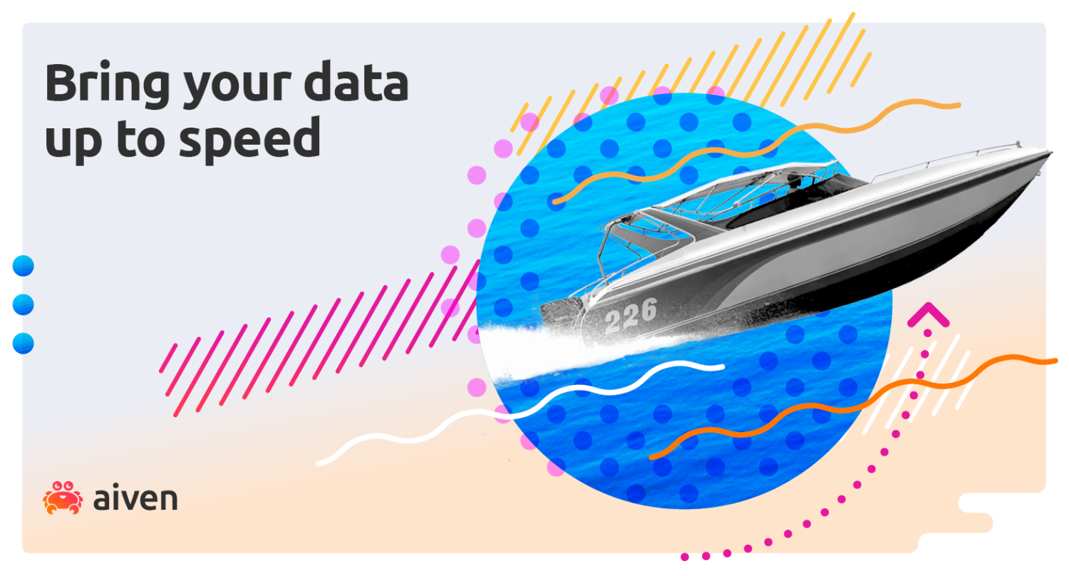 Speed boat with graphical elements and Aiven logo