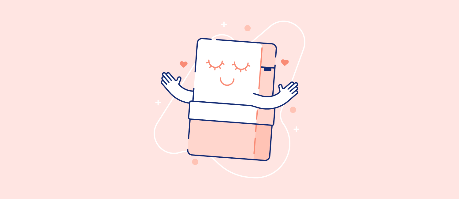 A cozy Casper mattress with a smiling face. Illustration.