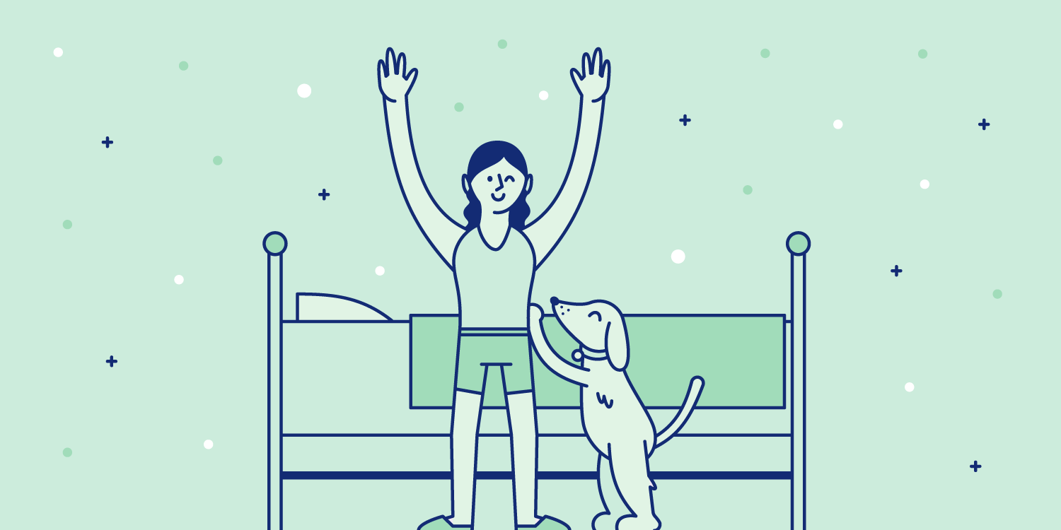 Woman stretches in the morning after a comfy sleep with her dog. Illustration.