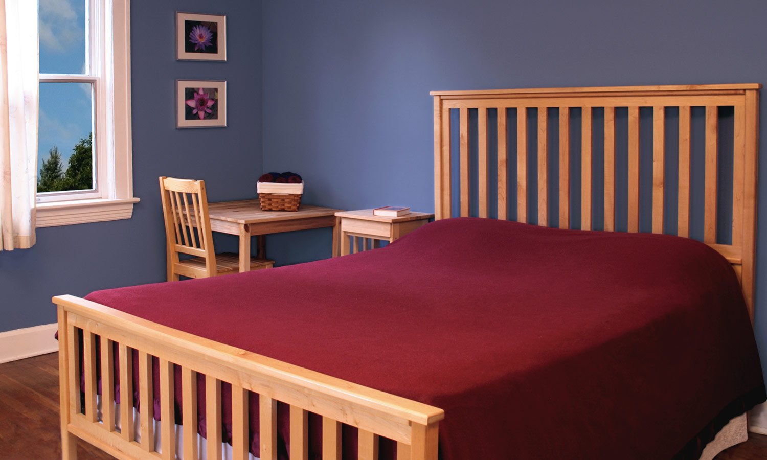 A wooden frame with slats on the headboard and footer.