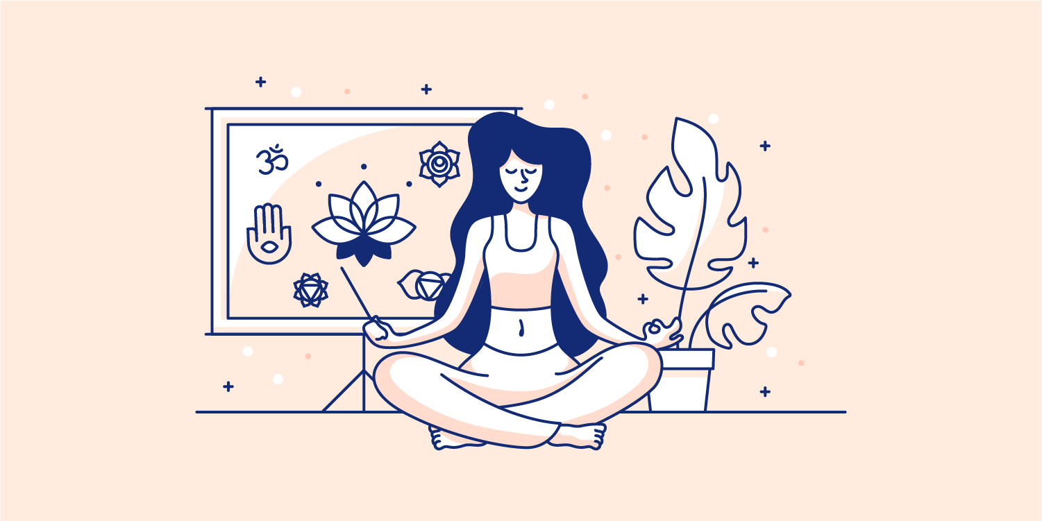 Woman meditating in her house. Illustration.