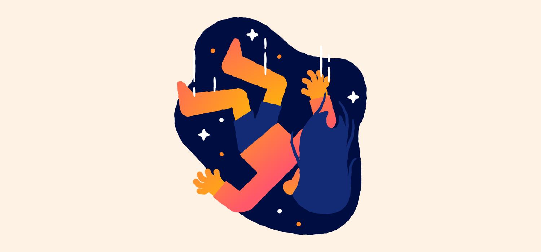 A woman falls through the air. Illustration.