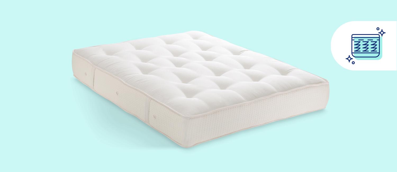 A spring mattress.