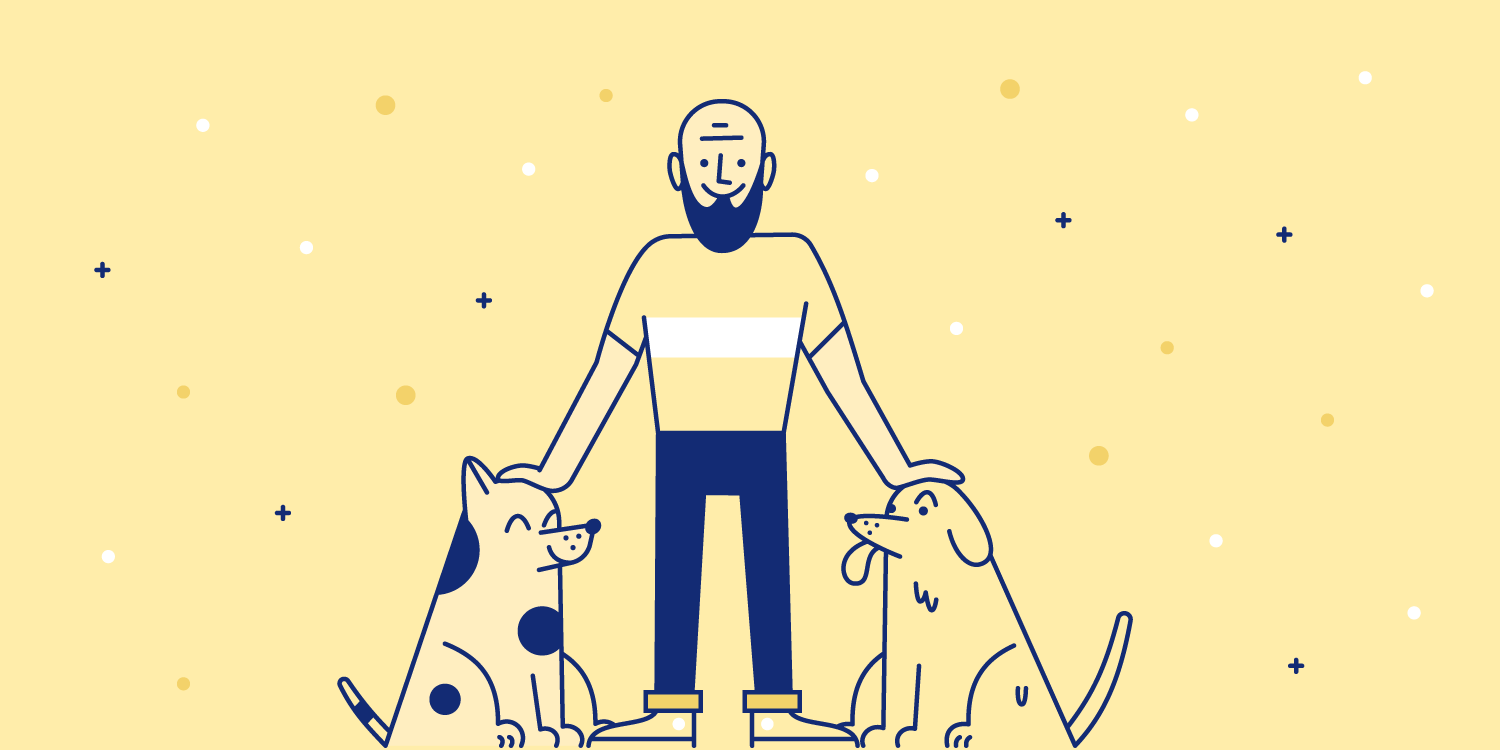 Man pets two good dogs. Illustration.