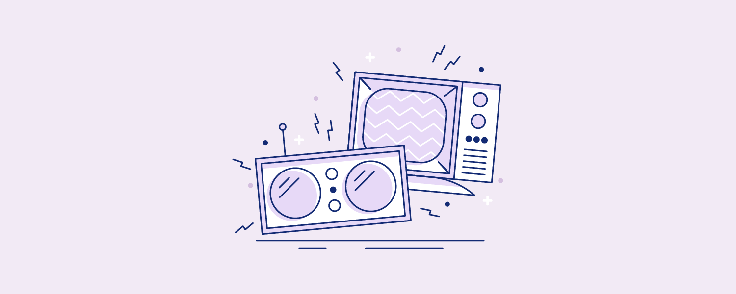 A television and radio blasting soundwaves. Illustration.