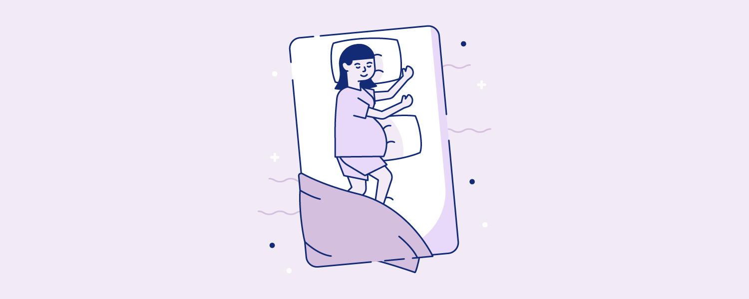 Woman sleeping with a standard-sized pillow under her pregnant belly. Illustration.