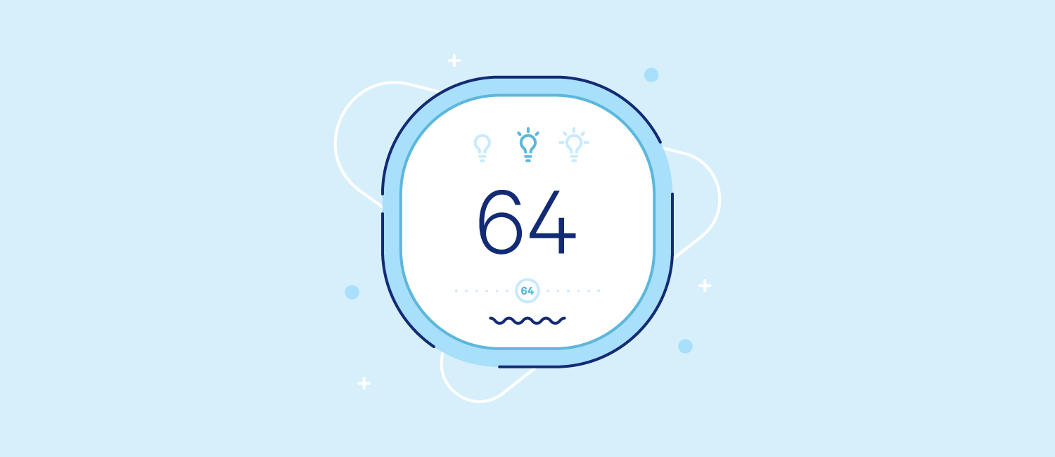 A thermostat set to 64 degrees. Illustration.
