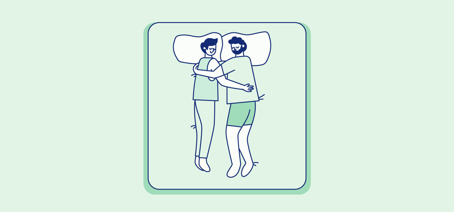 A couple sleeps on their sides facing each other and with one arm around the other. Illustration.