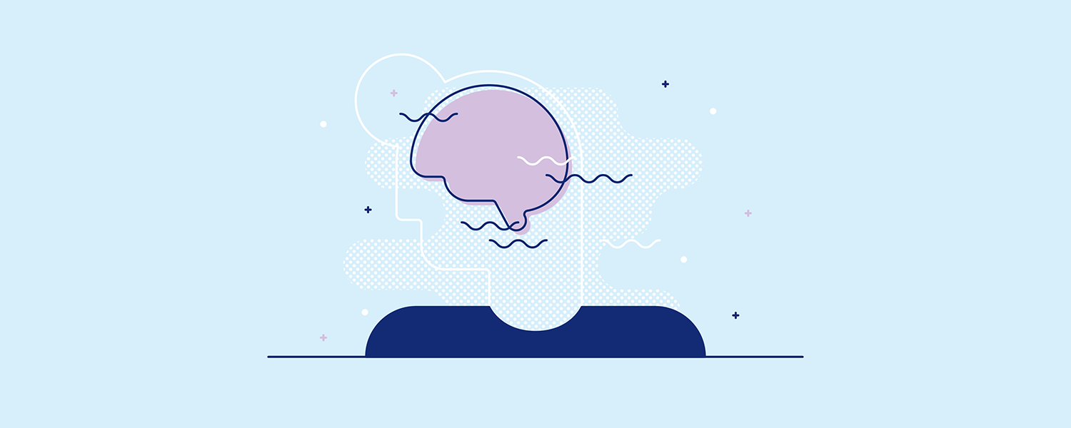 Gentle waves coming from a person's brain. Illustration.