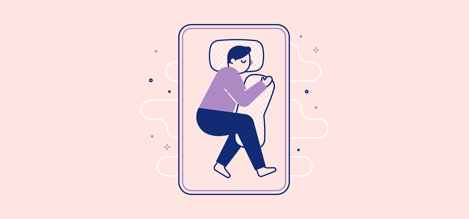 A person sleeps while holding onto a large pillow with an arm and both legs. Illustration.