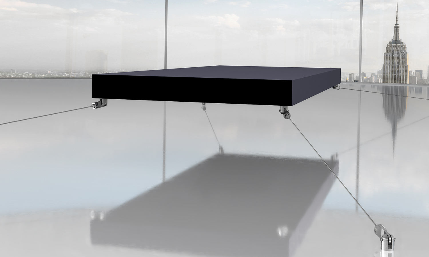A bed floats off of the ground by use of magnets