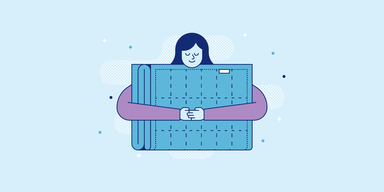 A smiling woman holds a large weighted blanket. Illustration.
